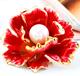 独家新款外贸原单铜山茶花画油彩绘花卉贝珍珠胸针别针秋冬季配饰女N1041