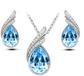 爆款!韩版时尚奥地利水晶飘曳耳钉项链两件套装-叶之绚丽A39+B66(银套装)