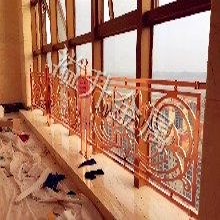 小區豪宅訂做玫瑰金雕花陽臺欄桿溢升專業生產陽臺護欄圖片