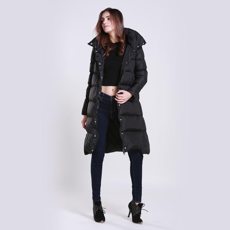 女装加长款立领连帽羽绒服加长款加厚防寒保暖羽绒服代工