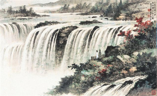 国画瀑布的画法步骤