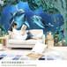 主题酒店大型壁画餐厅海洋世界3D墙纸客厅无缝纤维布壁画