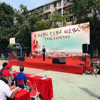 廣州白云區永泰嶺南新世界六一文藝匯演舞臺搭建、61音響出租燈光