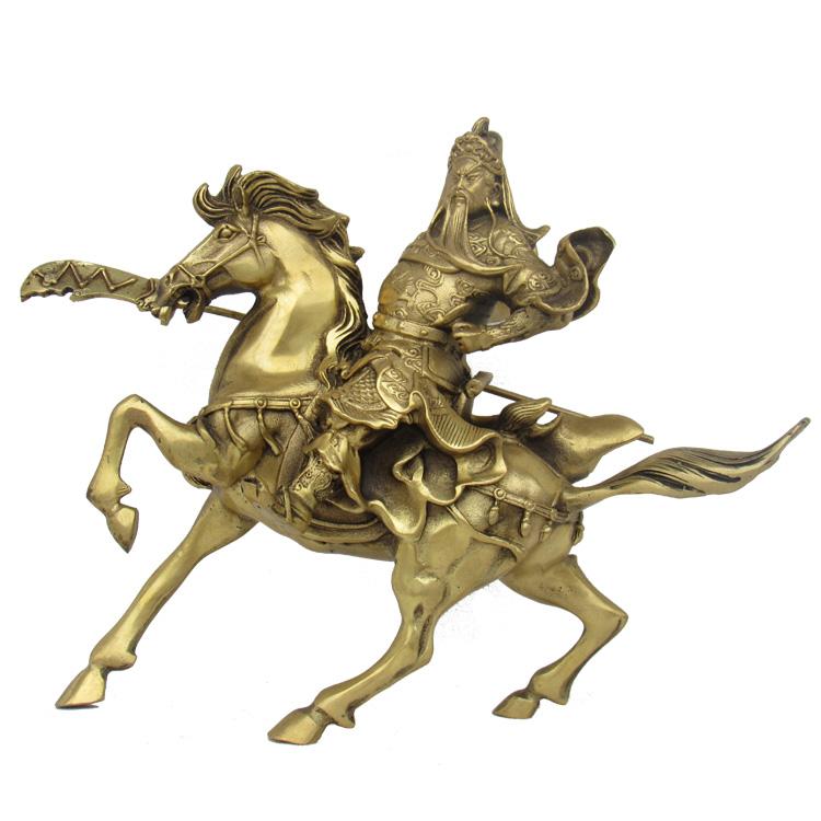 开光纯铜骑马关公像