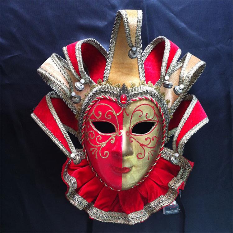 威尼斯风格手绘面具环保全脸纸浆面具化妆舞会面具