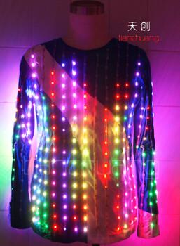 LED发光服发光T恤发光西服舞台服饰发光演出服荧光服夜光服