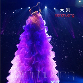 创意LED演出发光高跷长裙子舞台表演服装发光舞蹈夜光女高裙子