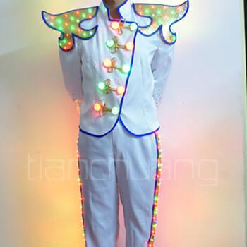 天创LED演出发光礼服酒吧dj歌手发光表演服装男士发光服装