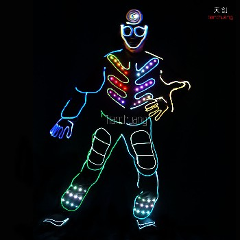 LED光纤连体舞蹈服酒吧DJ发光衣服舞台LED荧光舞演出服