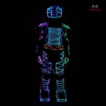 led光纤发光衣服荧光舞蹈服装舞台酒吧发光led衣服创意舞蹈演出服