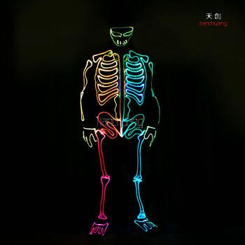 舞台led光纤连体演出服发光cosplay骷髅装扮服装夜场荧光衣服