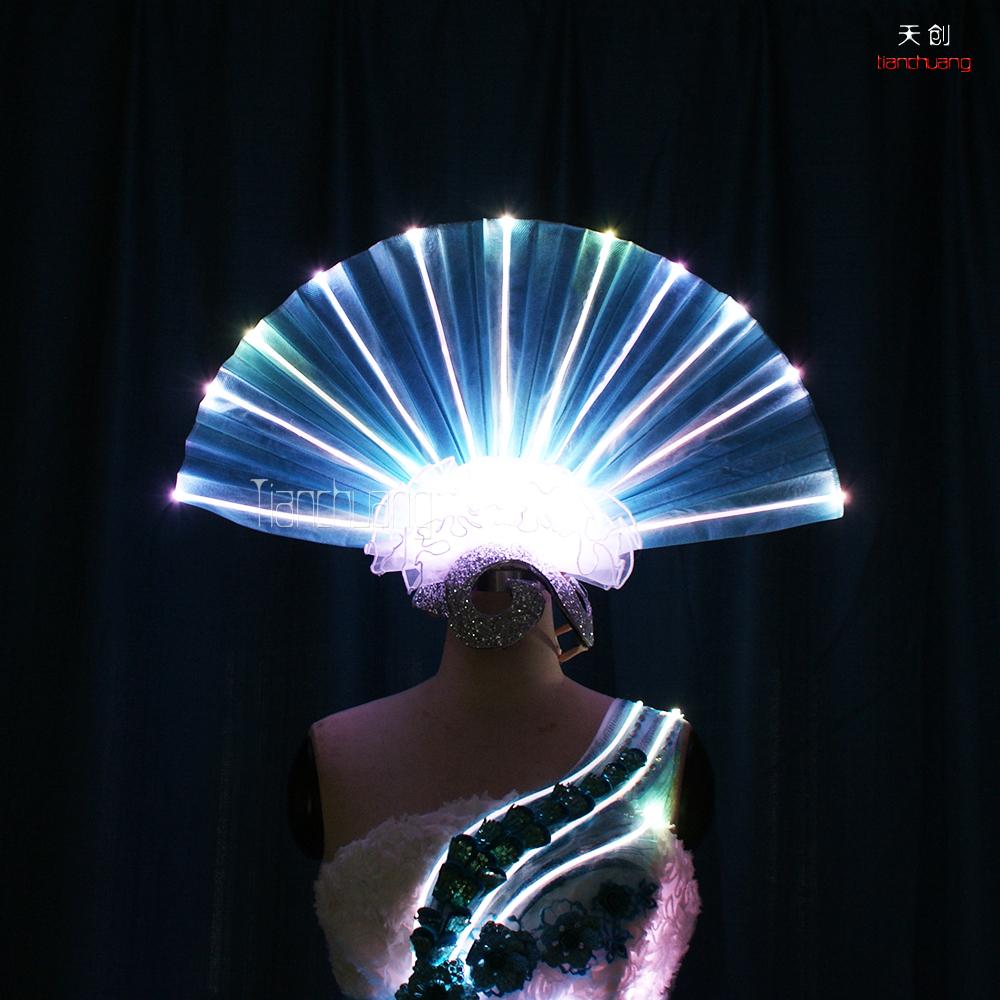 tc-0175扇子型头饰led发光头饰舞蹈服走秀创意夸张服装led头饰图片