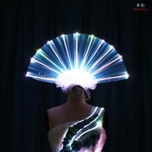 TC-0175扇子型头饰led发光头饰舞蹈服走秀创意夸张服装led头饰