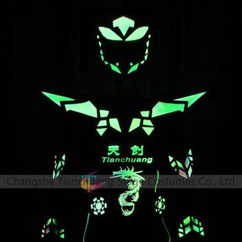 led可编程电光舞发光服任意定制logo图案全彩变色荧光舞蹈服