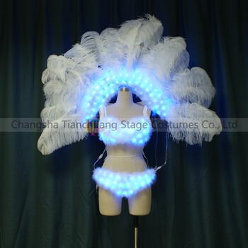 TC-0187维密羽毛款led发光背架发光性感内衣走秀led舞蹈翅膀