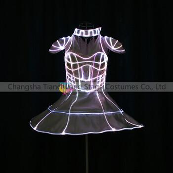 新品led夜店性感舞蹈短裙酒吧万圣节cosplay发光光纤裙子