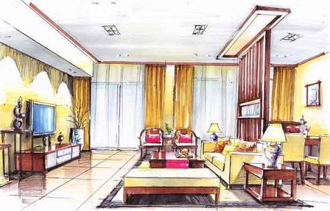 酒店室内手绘透视图