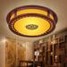 LED圆形过道灯门厅灯阳台灯卧室灯实木客厅玄关中式木质吸顶灯具