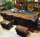 青海老船木一品大龙骨茶桌椅组合批发沉船木办公室中式古典茶台图片