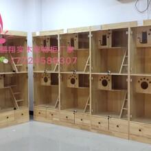 貓籠三層寵物展示柜寵物柜實木貓別墅圖片