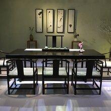 杭州哪有卖实木大板黑檀大板茶桌巴花大板会议桌办公桌奥坎大板新中式黑檀家具图片