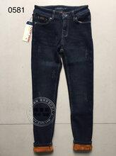 16年新款加绒抓毛牛仔裤,品牌折扣尾货批发加盟图片