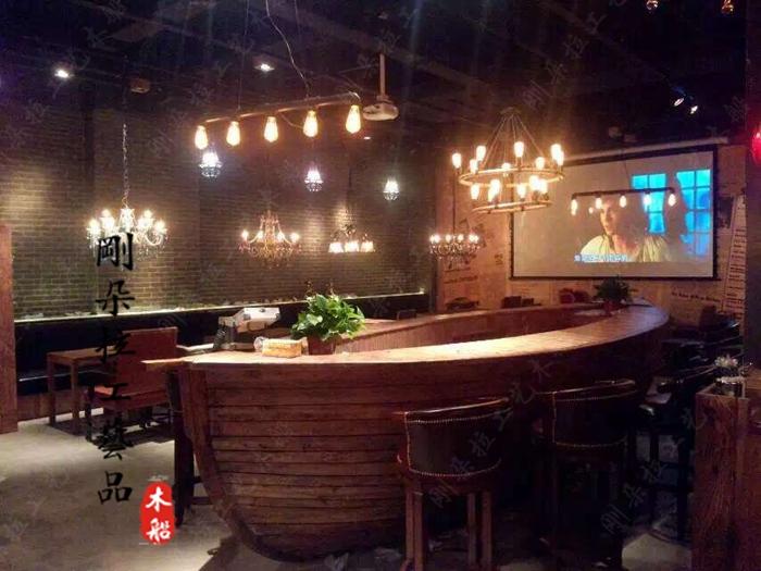 酒吧装饰船吧台木船道具船欧式木船木质摆件船手工模