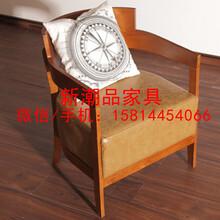 美式家具北欧简约铁艺休闲椅沙发椅客厅椅书椅皮椅咖啡厅椅