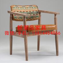 北欧全实木餐椅复古家用凳子实木餐椅餐厅咖啡厅休闲靠背椅子