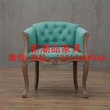 美式家具单人沙发北欧实木椅沙发复古餐椅咖啡厅酒店皮艺实木椅子