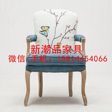 美式乡村休闲椅单人沙发椅实木软包躺椅主题餐饮家具