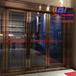 酒店装饰大门玫瑰金拉丝面钢化玻璃不锈钢地弹大门欢迎订购