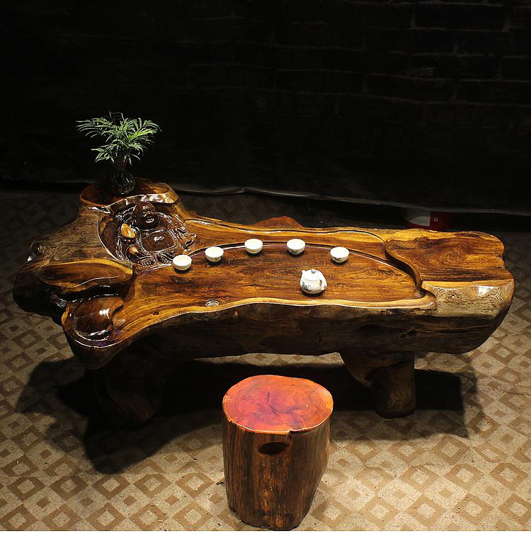 鸡翅木茶桌实木树根整体随型根雕茶几功夫茶台特大号茶海赠送墩子-
