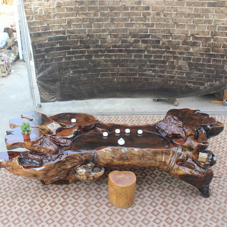 鸡翅木根雕茶桌实木树根茶几原木茶台功夫茶具工厂直销价格优势-木