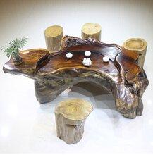 鸡翅木树根茶桌整木茶台原木茶海工厂直销特价现货送4个墩子价优图片