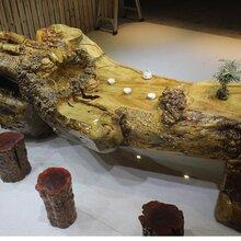 黄金樟根雕流水茶桌送8个墩子整木树根茶海茶台工厂直销价格优势图片