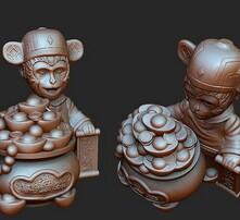 东莞3D打印,生肖猴年吉祥物,公仔创意金猴送宝,招财猴婚庆年会礼品图片