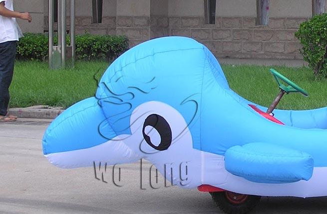 海洋可爱小动物海豚趣味造型充气电瓶车公园广场游乐