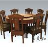 红木餐桌木雕艺术精品红木大师王义设缅花清式餐桌七件套