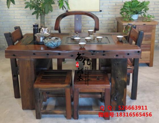 尚亿老船木茶桌100%海船木古船木家具