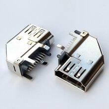 HDMIATYPE19P/F侧立式母座90度DIP侧插铜壳高清插座图片