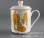 唐山厂家批发骨质瓷办公盖杯礼品水杯定制陶瓷茶水杯加logo