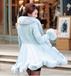 2015冬新款欧美优雅气质羽绒棉长袖狐狸皮草中长款大摆风衣外套
