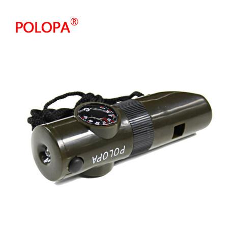 七合一口哨多功能手电筒指南针温度计LED灯放大镜储物盒