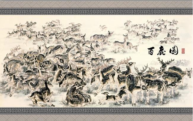 现代中式做旧无缝壁纸壁画客厅沙发卧室背景墙纸墙图片