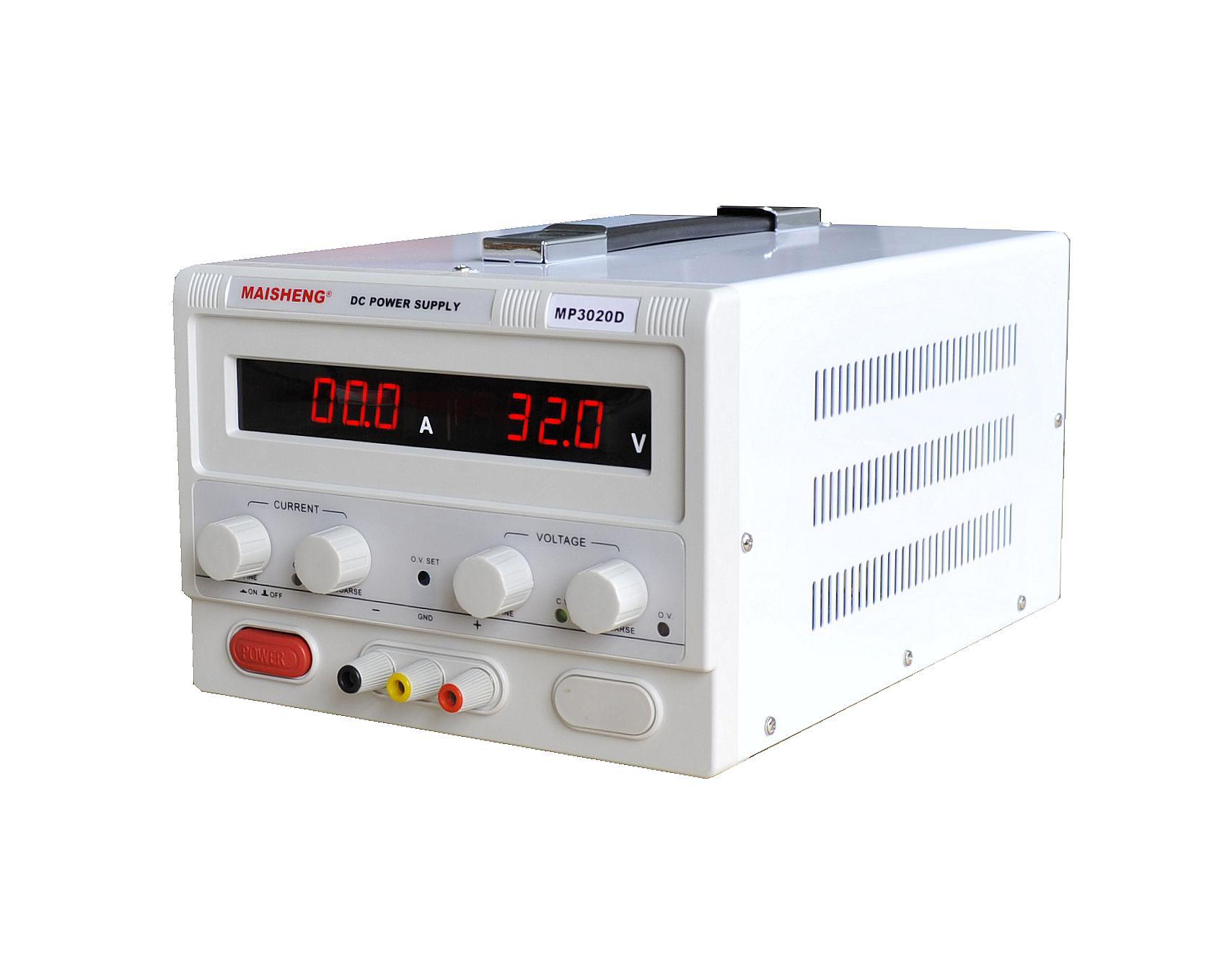 MP3030D:0-30V/0-30A 产品特点: 1. 加厚钢板机箱,美观大方,坚固耐用。提手设计,方便搬运。 2. 电压采用10圈电位器,精确调整输出电压值。 3. 恒压、恒流自动转换,即可当恒压源使用,亦可当恒流源使用。 4. 保护功能完善:过压保护(OVP),短路限流保护(OCP),过温保护(OTP),过功保护(OPP)。 5.