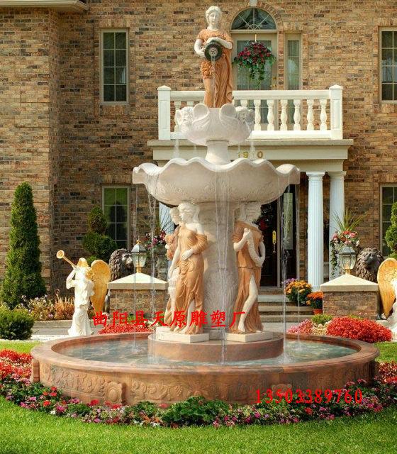 欧式喷泉雕塑汉白玉石雕喷泉人物喷泉花园喷泉