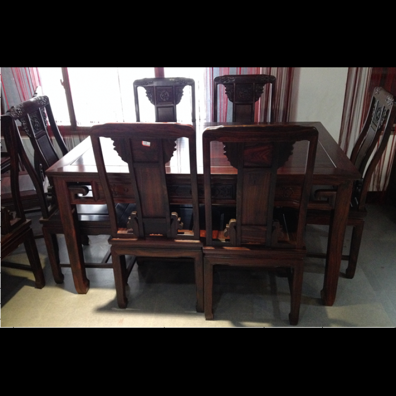 浙江东阳明清红木家具梦圆红木家具非酸色明式餐桌