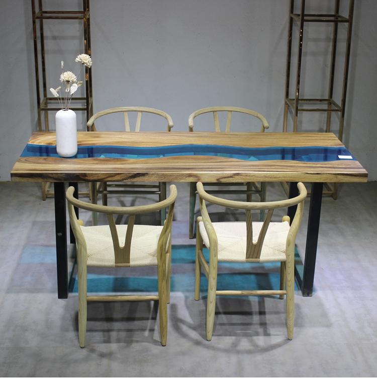 胡桃木大板何玻璃结合个性餐桌办公桌会议桌大班台