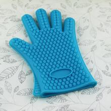 新红批发加厚143g硅胶手套耐高温硅胶烘焙工具微波炉隔热手套五指图片